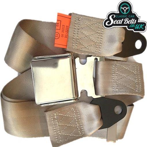 Two Point Static Lap Belt Kit 45cm Adjustable Chrome Buckle