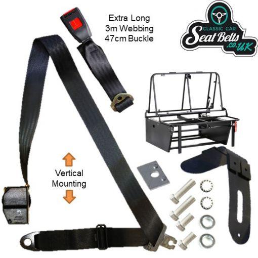 Three Point Auto Horizontal Rock N Roll Seat Belt Kit 47cm Buckle