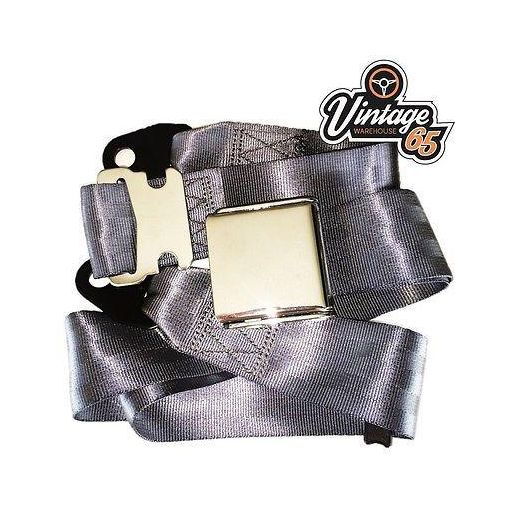 Vintage & Classic Car Grey Chrome Buckle Lap Seat Belt Adjustable Front or Rear